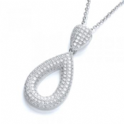 "J-Jaz Micro Pave' Pear Shape Pendant with 18"" Chain"
